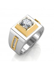 The Khufu Solitaire Ring For Him - White - 0.56 carat