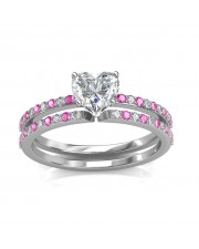 1.24 carat 18K Gold - Carmine Engagement Ring and Wedding Band Set