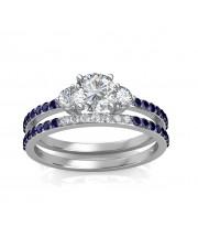 1.29 carat White Gold - Athena Engagement Ring and Wedding Band Set