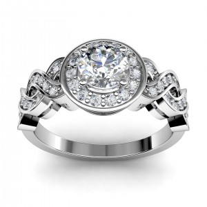 1.31 carat Platinum - Entwined Halo Engagement Ring
