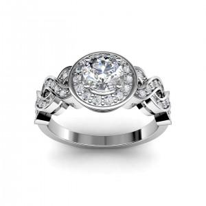 0.51 carat Platinum - Entwined Halo Engagement Ring
