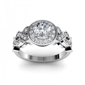 0.61 carat Platinum - Entwined Halo Engagement Ring