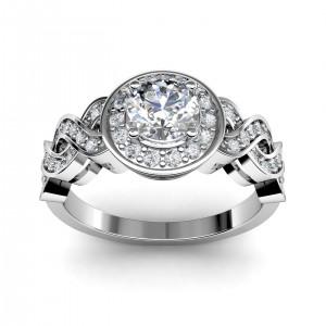 0.81 carat Platinum - Entwined Halo Engagement Ring