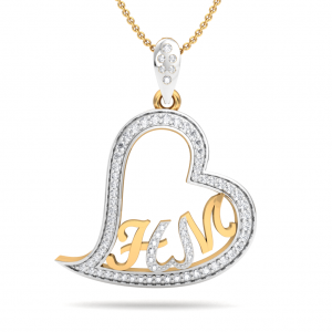 The Initials Heart Diamond Pendant