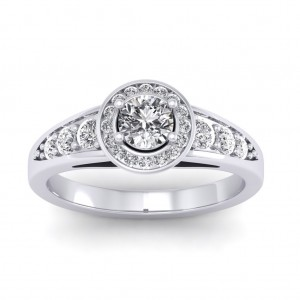 0.77 carat 18K White Gold - Azzario Engagement Ring