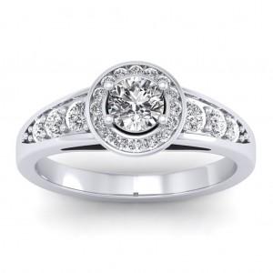 1.37 carat 18K White Gold - Azzario Engagement Ring