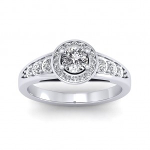 0.62 carat 18K White Gold - Azzario Engagement Ring