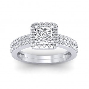 1.46 carat 18K White Gold - Dual Band Helena Princess Engagement Ring