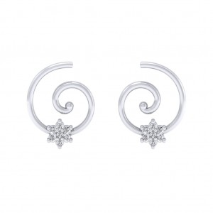 White Gold Swirl Earring