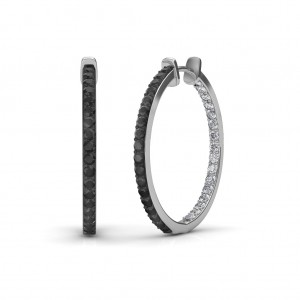 The Keya Black Diamond Hoop Earrings