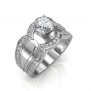 Hand-1.35 carat Platinum - Utopia Engagement Ring