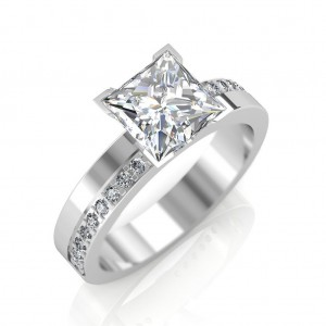 1.68 carat Platinum - Eternity Princess Engagement Ring