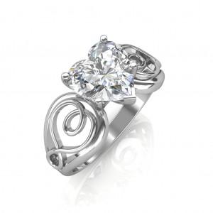 0.70 carat 18K White Gold - Gelsey Engagement Ring