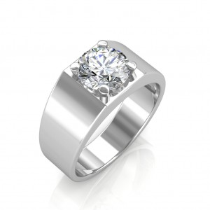 The Evergreen Solitaire Ring For Him - White - 0.50 carat