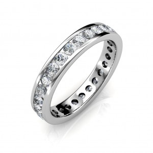 Platinum Channel Set Diamond Full Eternity Ring - 3 cent diamonds