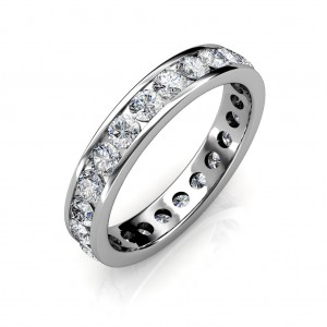 Platinum Channel Set Diamond Full Eternity Ring - 5 cent diamonds