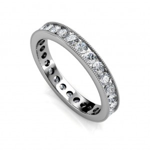 Platinum Milgrain Channel Set Diamond Full Eternity Ring - 3 cent diamonds