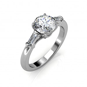 0.74 carat 18K White Gold - Laura Baguette Ring