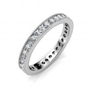 White Gold Milgrain Channel Set Full Eternity Ring