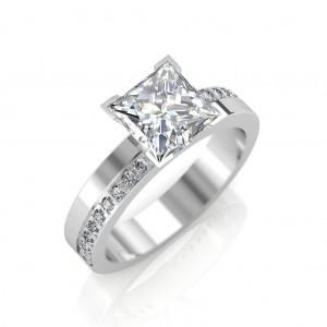 0.68 carat Platinum - Eternity Princess Engagement Ring