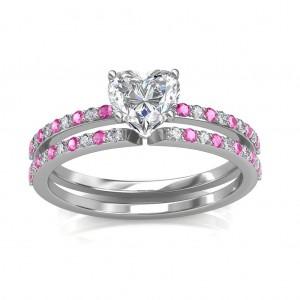 1.24 carat Platinum - Carmine Engagement Ring and Wedding Band Set