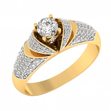 The Dina Pave Solitaire Ring
