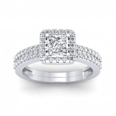 The Dual Band Helena Princess Solitaire Ring