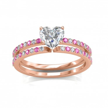 The Carmine Engagement Ring And Wedding Band
